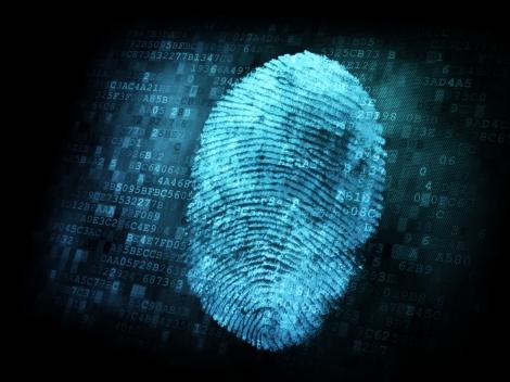 Fingerprint on digital screen, security concept